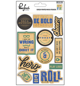Pinkfresh - Screen printed wood stickers: Boys Fort