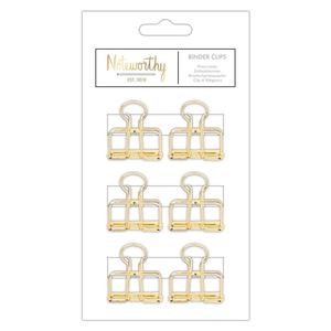 Noteworthy - Metallic Mono Binder Clips: Goud