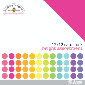 "Doodlebug - 12x12"" Textured Cardstock Pack: Bright"